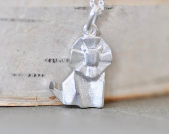 Origami LION Necklace in Sterling Silver, Geometric Lion, Lion Jewelry, Lion Gifts, Jamber Jewels