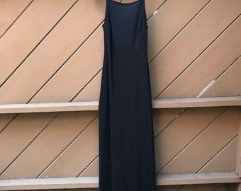 Vintage 90s Black Body Con Maxi Dress