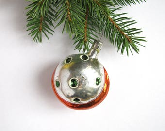 Moon with craters, Rare Soviet Christmas ornament, Planet, Space, Glass Christmas tree decoration, New Year,  USSR, Soviet Union, 1950s