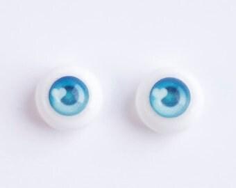 Kawai Anime { BLUE + HART } Handmade acrylic+resin BJD doll eyes 10mm 12mm 14mm 16mm 18mm by WillStore