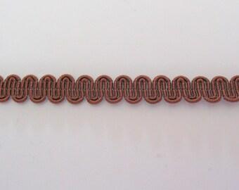 Serpentine stripe Brown viscose/cotton height 8mm