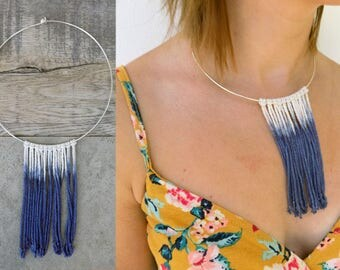 Contemporary Fringe Silver Hoop Necklace - 100% cotton