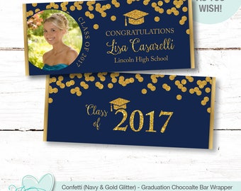 Confetti Graduation Chocolate Bar Wrappers Personalized Navy and Gold Glitter with Picture, Hersheys Wrapper, Candy Wrappers, Favors, 50G