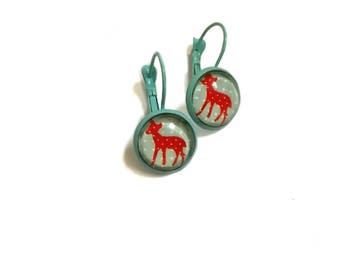 Vintage Style young deer Bambi, flowers red & blue picture, resin, Cabochon, handmade round brass earrings For spring Summer celebration!