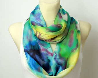 Lightweight Floral Infinity Scarf Women Fashion Accessories Boho Gift for Her Satin Silk Loop Scarf Spring Summer Outdoors Summer Party
