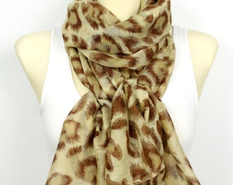 Leopard Scarf Brown Scarf Viscose Scarf Womens Scarves Printed Scarf Fashion Scarf Spring Scarf Autumn Scarf Scarfs Gift for Women Christmas