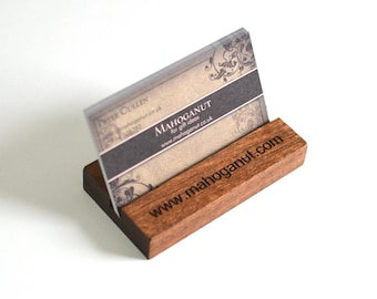Personalised Business Card Holder - Wooden Business Cardholder made from real African Mahogany