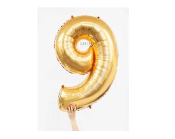 """40"""" Metallic Gold Number Balloon, 40 Inch Gold Balloon, Giant Gold Number Balloon, Giant 9 Balloon, Number Nine Balloon, 40"""" Nine Balloon"""