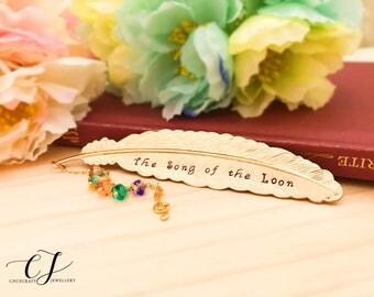 Personalized Music Bookmark, Custom Hand Stamped Bookmark, Personalized Girlfriend Gift, Personalized Music Teacher Gift, Rainbow Bookmark