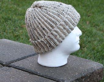 Crochet Hat,Beige Beanie,Mens Beanie,Ribbed Beanie,Textured Hat,Reversible Beanie,Winter Beanie,Crochet Toque,Winter Hat,Men Winter Hat