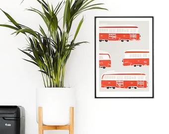 Toronto Streetcar Print, Trams, Retro Vehicle Lovers, Vintage History, 1950's Vehicles, Toronto Canada Art, Red White, Retro Style, Trains