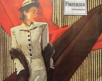 1945 Forstmann Fabrics Vintage Advertisement Boutique Wall Art Bedroom Decor Womens Fashion Wall Art Original Magazine Print Ad 40s Fashion