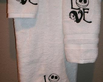Nightmare Before Christmas Love Personalized Spiderweb Bath, Hand, Washcloth Towel Set