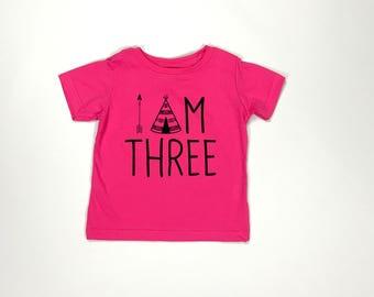 I am Three, Young wild and three, 3rd birthday shirt, third birthday shirt, girl birthday shirt, boy birthday shirt, three year old shirt