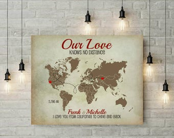 Long Distance World Map | Travel Map | Engagement Gift | Anniversary | Valentines Day | Honey Moon | Gift For Him | Gift For Wife - 53377