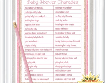 CHARADES Baby Shower Game In A Vintage Style With Pink Accents, Diy  PRINTABLE, 12BA