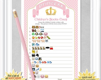 Children's Books EMOJI Pictionary in a Princess theme, Baby Shower game in pinks and gold, baby tutu, ANSWERS included, diy PRINTABLE, 79BA