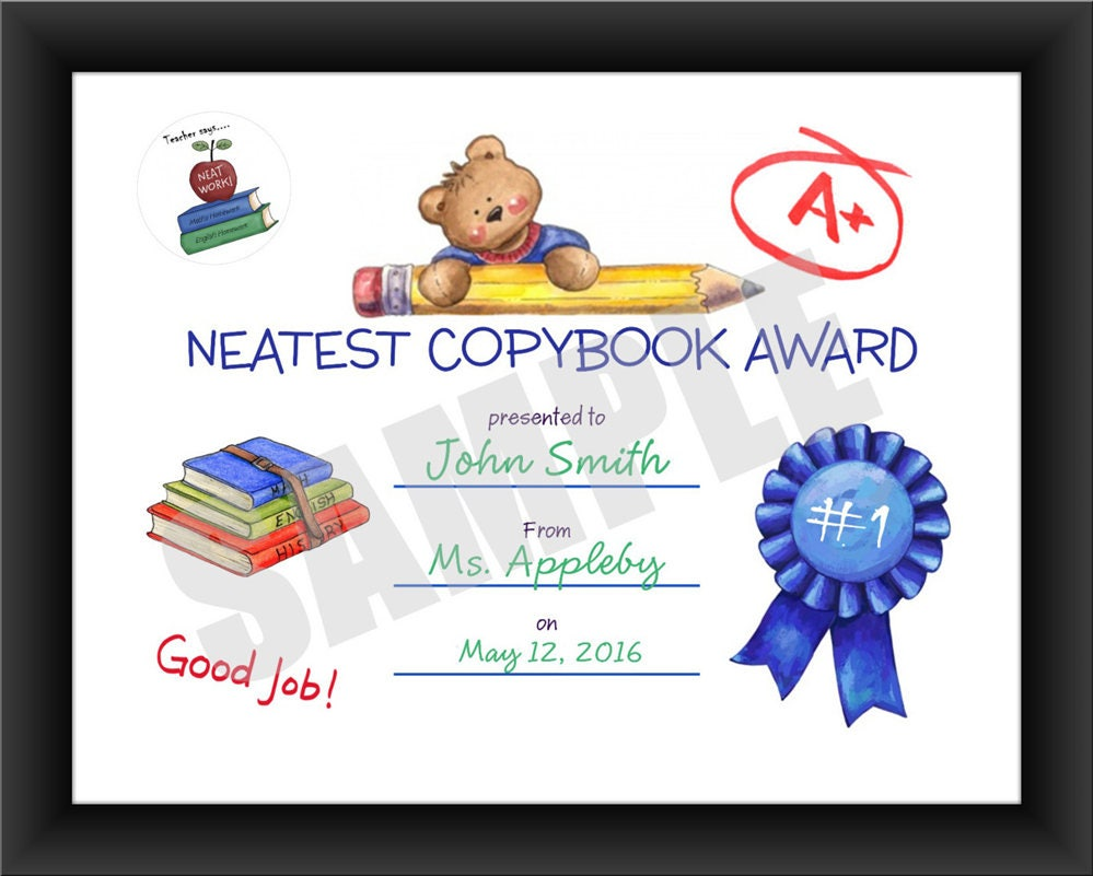 Teacher certificate neatest copybook kids award pdf download this is a digital file xflitez Images
