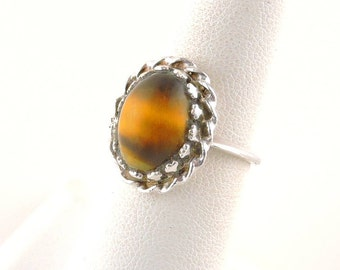 Size 6 Sterling Silver And Tigers Eye Ring