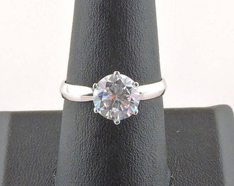 Size 8 Sterling Silver 2ct Round Cubic Zirconia Solitaire Ring