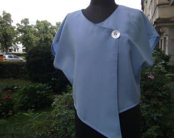 light blue Linenblouse - Summerblouse - handmade Waistcoat -  asymmetric Waistcoat - short Waistcoat - Blouse Size M -  Lin enwaistcoat