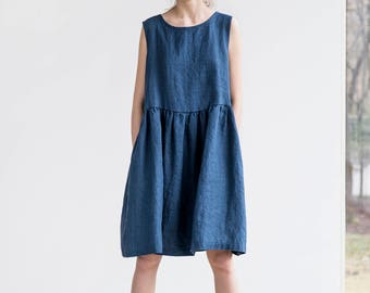 Smock linen dress / Loose linen sleeveless summer dress in denim color / Washed linen dress