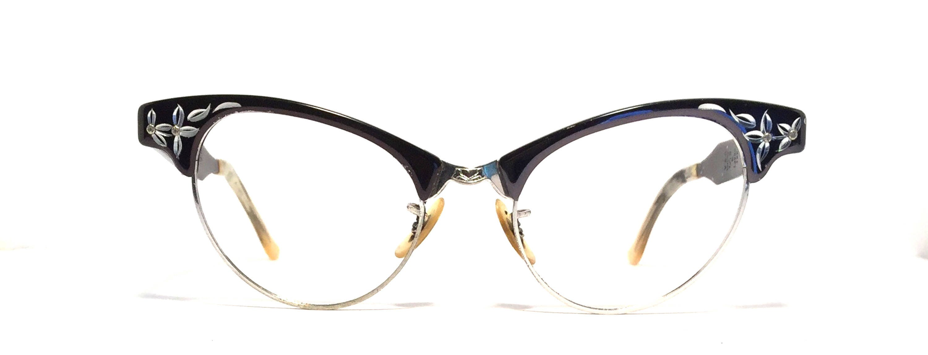 15a7f4124c Vintage eyewear. Cat eye style. Black aluminum silver detailing. Made in  USA by