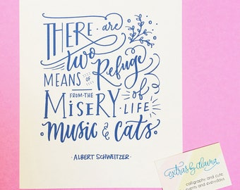 Music & Cats Lettering Art Print - Extras by Alaina