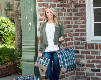 Monogrammed Plaid Weekender, Shoulder or Cosmetic Bag - Monogram Gift
