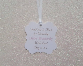 Baby Shower Favor Tags *Thank You for Showering Baby With Love Gift Tags *Pink & Gold Tone *Personalized *Assembled w/ White Satin Ribbon
