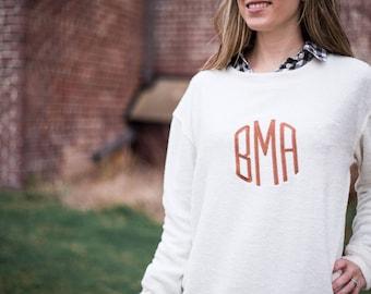 Large Monogram Pullover | Monogrammed Sweatshirt | Terry Sweatshirt | Cozy Sweater | Monogram Sweater | Personalized Gift for Her