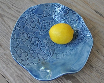 Denim Blue Laced Handmade Pottery Platter, Ceramic Plate, Serving Dish, Housewarming, Wedding Gift