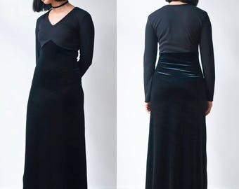 BLACK MAXI DRESS -90s, 80s, gothic, witch, grunge, long sleeve, transparent, sexy, night, party, velvet, prom-
