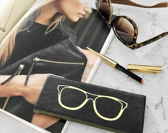 Black Foldable Hardback Sunglass & Eye Glass Travel Case: Gold Foiled Design