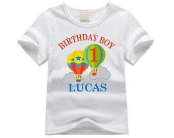 Personalized first birthday shirt. 1st birthday shirt. ANY AGE! Up birthday theme. Hot air balloons birthday shirt. Hot air balloon birthday