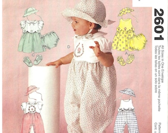 McCalls 2601 Sewing Pattern Infants Dress Rompers Hat Shoes and Panties All Sizes Uncut