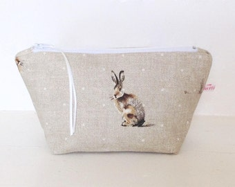 Make Up Bag, Cosmetic Bag, Pouch, Handbag Tidy, Hair Accessories Pouch, Purse, Gift for Her, Jewellery Pouch, Sewing Pouch, Hartley Hare Bag