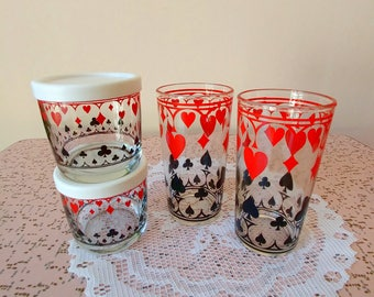 Set of 4 vintage mustard glasses with playing card design