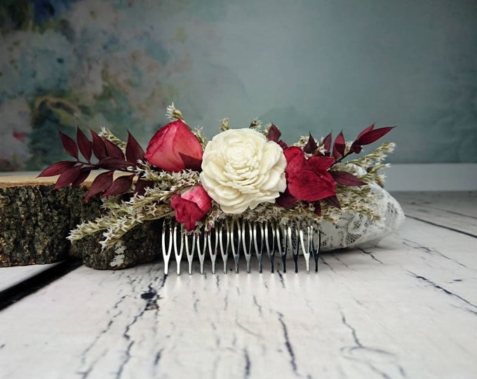 Burgundy rustic woodland HAIR COMB Sola and dried Flowers maroon deep red burlap hair piece bridal accessory gothic alternative bride
