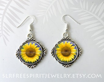Sunflower Earrings, Sunflower Necklace, Summer Accessory, Yellow Flowers,  Photo Glass Necklace, Floral Accessory, Silver Jewelry,