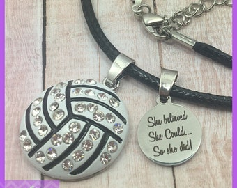 Volleyball Necklace - End of Season Volleyball Gifts - She Believed She Could So She Did, Team Gifts, Graduation, Senior Night, Personalized