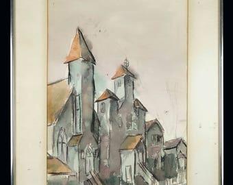 1966 Bruguera Watercolor Painting Vintage Art Mid Century Modern MCM MOD