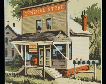 Mark Coomer Serigraph General Store Storefront Print Vintage Art Silkscreen Screenprint Silkscreen