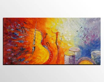 Singer Painting, Modern Painting, Music Violin Painting, Large Canvas Art, Abstract Art, Large Wall Art, Abstract Painting, Original Art