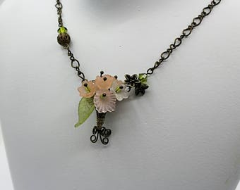 ON SALE Pale Pink posy necklace- gift for her - brass chain Vintage Style necklace - Victorian necklace - pink flower leaf necklace