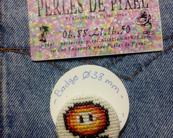 Mario fire flower pattern hand embroidered badge