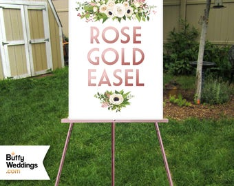 ROSE GOLD Wood Easel . 5ft Floor Wedding Display Large Lightweight Only Sign .  Foam Board or Canvas up to 30 x 40in . Custom Hand Painted
