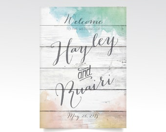 Watercolor & White Wash Wood Calligraphy Welcome Wedding Sign . Blush Yellow Gold Teal Blue . PRINTED Heavy Paper • Foam Board • Canvas