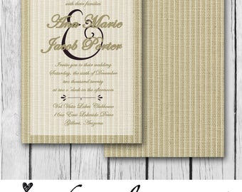 Burlap and Stripes - Wedding Invitation / Bridal Shower / Baby Shower / Birthday - Digital and Printable Invitation