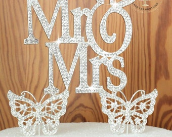 Winter Wonderland Mr and Mrs Wedding Cake topper with crystal snowflakes rhinestone silhouette cake decoration cake jewelry